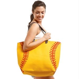 Large Canvas Softball Tote Bag Travel Purse
